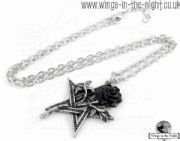 ALCHEMY GOTHIC Black Pentagram Rose Necklace | Pagan Jewellery